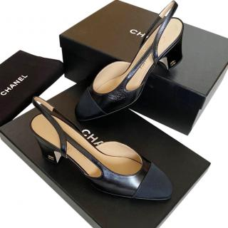 Chanel Black Goat Leather & Grosgrain Slingback Pumps