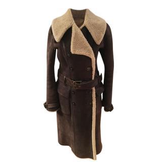 Ralph Lauren Blue Label Shearling Sheepskin Brown Trench Coat