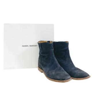 Isabel Marant Blue Suede Ankle Boots