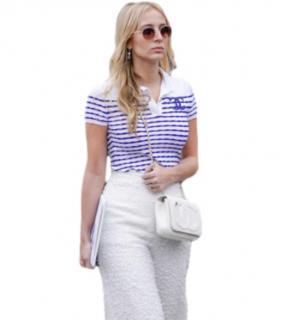 Chanel Blue & White Striped CC Top