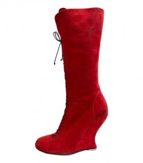 Alaia Red Suede Lace-Up Sculpted Heel Boots