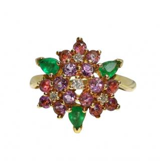 Faberge 18ct Yellow Gold Amethyst, Diamond & Emerald Cluster Ring