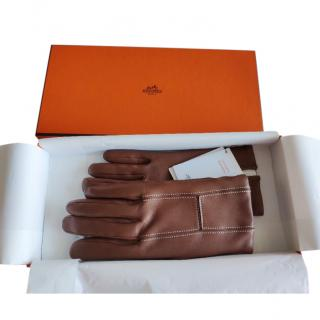 Hermes Cashmere Lined Cognac Lambskin Gloves
