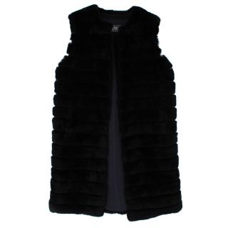 Meteo by Yves Salomon Black Long Rabbit Fur Gilet