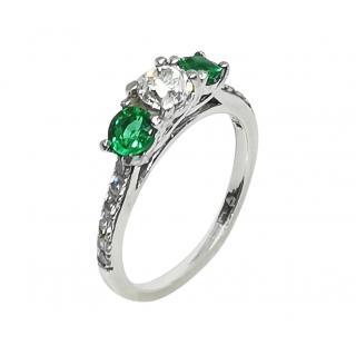 Harlow Jewellers Platinum Set Diamond & Emerald Trilogy Ring