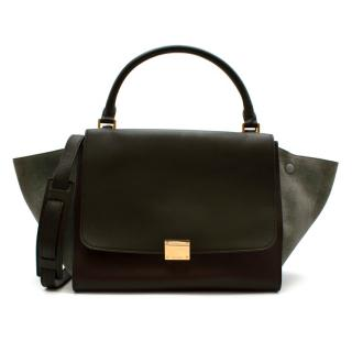 Celine Leather Burgundy Blue & Brown Trapeze Bag