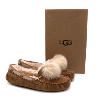Ugg Dakota Pom Pom Suede Loafers