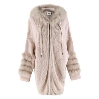 Max & Moi Beige Cashmere Blend Fur Trimmed Knit Hooded Cardigan