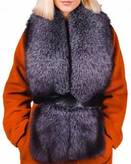 FurbySD Charcoal Fox Fur Scarf