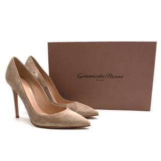 Gianvito Rossi Suede Taupe 105mm Pumps