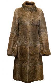 Joseph Brown Rabbit Fur Longline Coat