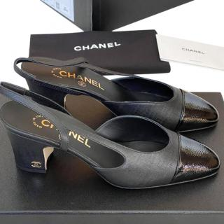 Chanel Goat & Calf Leather Slingback Pumps