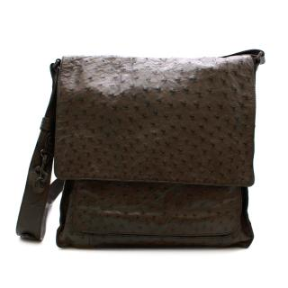 Bottega Veneta Brown Ostrich Leather Crossbody Bag