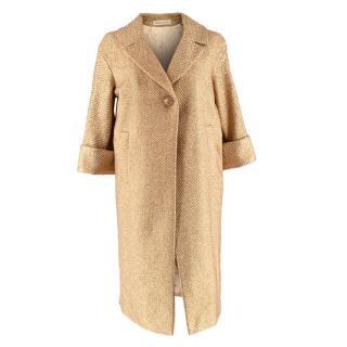 Louise Kennedy Rosie Gold Lurex Coat
