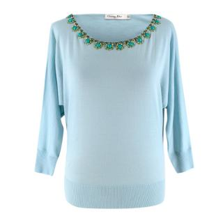 Christian Dior Blue Wool Embellished Knit Sweater