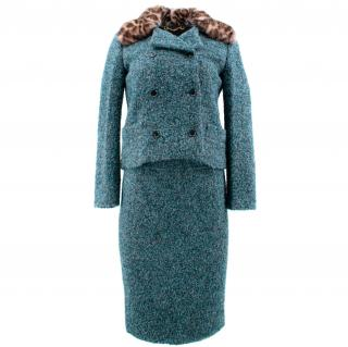 Gucci Green Alpaca & Wool Tweed Suit with Removable Mink Fur Collar
