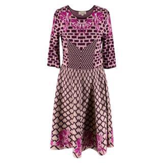 Temperley Burgundy & Pink Knit Dress