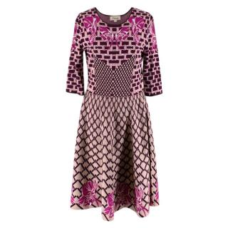 Temperley Burgundy & Pink Knit Dress