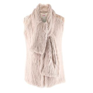 Matthew Williamson Beige Rabbit Fur Scarf Tie Gilet