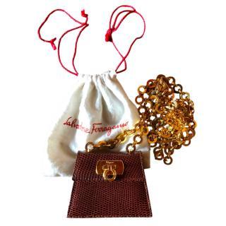 Ferragamo Brown Lizard Vintage Mini bag