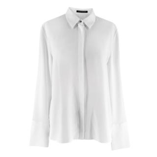 Luisa Cerano Lace Detailed Crystal Button White Blouse