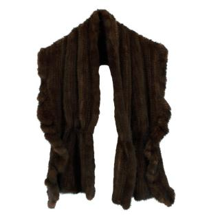 Lacompel Pret Porter Chocolate Brown Mink Fur Shawl
