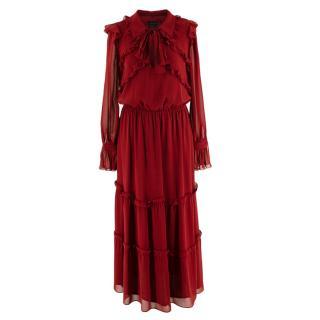 Luisa Spagnoli Red Silk Ruffled Maxi Dress
