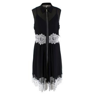McQ Alexander McQueen Black Silk Blend Lace Trimmed Dress