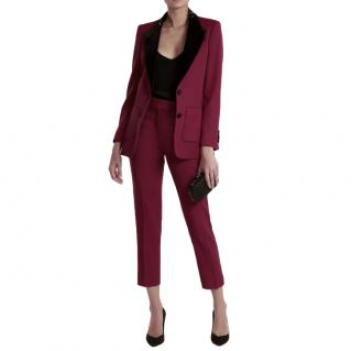 Racil Burgundy/Black Tailored Tuxedo Suit
