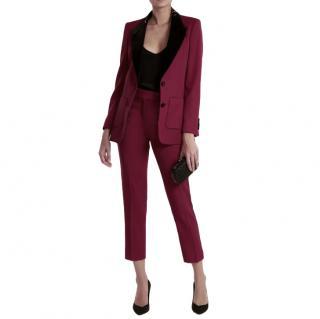 Racil Burgundy/Black Tailored Tuxedo Suit