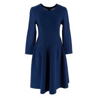 Issa Navy Blue Knit Eddington Fit And Flare Dress