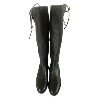 Christian Louboutin Black Tie-Top Riding Boots