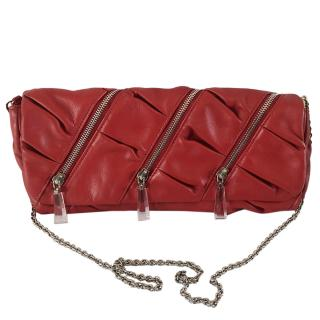 Christian Louboutin Red Zipper Detail Foldover Clutch
