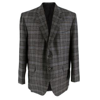 Donato Liguori Grey & Brown Wool Blend Tailored Blazer Jacket