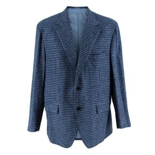 Donato Liguori Blue Pied de Poule Cashmere Blend Tailored Blazer