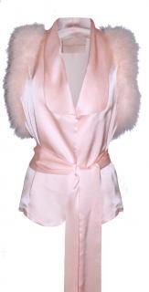 Maguy De Chadirac Pink Marabou Feather Trim Pyjama Top