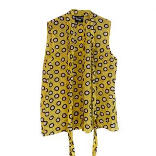 Boutique Moschino Yellow Spotted Pussy Bow Top