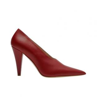 Max Mara Red High Neck Leather Pumps