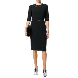 Dolce & Gabbana Black Crepe Fitted Dress