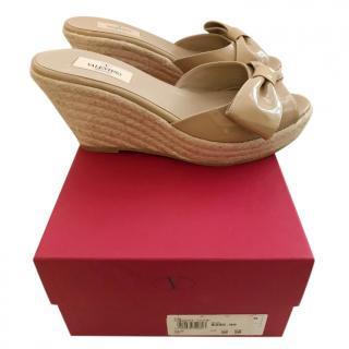 Valentino Beige Patent Raffia Wedge Sandals