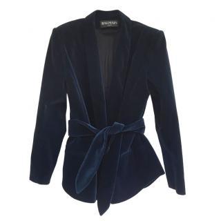 Balmain Blue Velvet Shawl Lapel Jacket