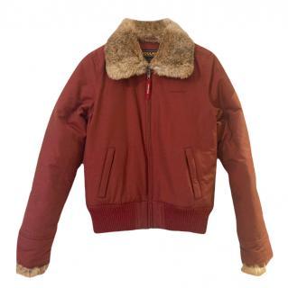 Woolrich Fur Trim Down Bomber Jacket