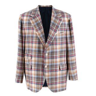Donato Liguori Cream Red & Blue Cotton Blend Tailored Blazer Jacket
