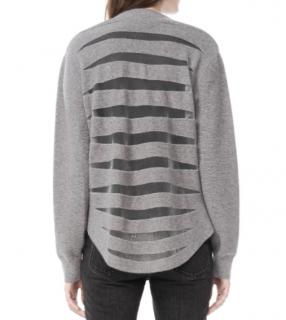 Alexander Wang Sheer Back Striped V-neck Cardigan