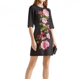 Dolce & Gabbana Black Rose Print Crepe Dress