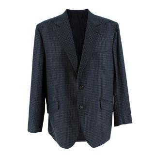 Donato Liguori Blue & Grey Gingham Cashmere Blend Tailored Blazer