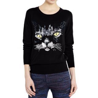 Markus Lupfer Black Sequin Embellished Cat Jumper