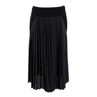 Givenchy Black Silk Blend Pleated Midi Skirt