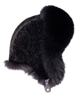 FurbySD Black Astrakhan For Fur Trimmed Trapper Hat