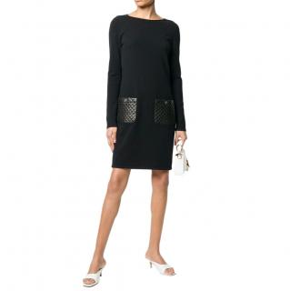 Chanel Black Cashmere Blend Dress with Quilted Leather Pockets